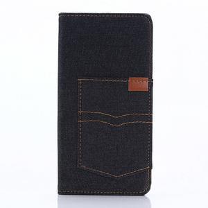 Jeans Peňaženkové puzdro pre mobil Sony Xperia XA - černomodré - 1
