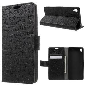 Cartoo peněženkové pouzdro na mobil Sony Xperia XA - černé - 1