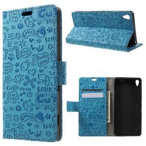 Cartoo peněženkové pouzdro na mobil Sony Xperia XA - modré - 1
