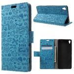 Cartoo peněženkové pouzdro na mobil Sony Xperia XA - modré - 1/6