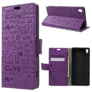 Cartoo Peňaženkové puzdro pre mobil Sony Xperia XA - fialové - 1