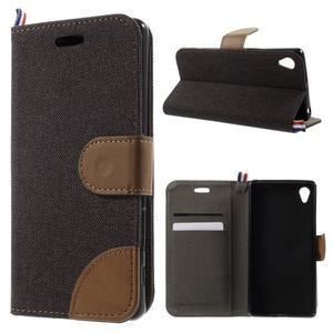 Denim textilné/koženkové puzdro pre Sony Xperia XA - čierne - 1