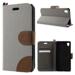Denim textilní/koženkové pouzdro na Sony Xperia XA - šedé - 1