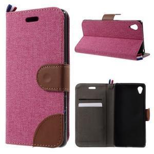 Denim textilné/koženkové puzdro pre Sony Xperia XA - rose - 1