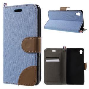 Denim textilné/koženkové puzdro pre Sony Xperia XA - svetlomodré - 1