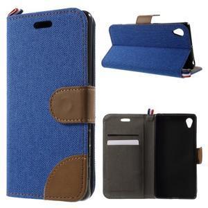 Denim textilní/koženkové pouzdro na Sony Xperia XA - modré - 1