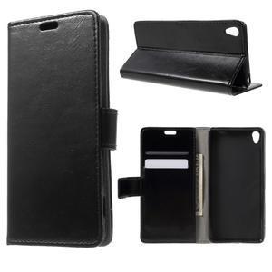 Horse PU kožené puzdro pre mobil Sony Xperia XA - čierne - 1