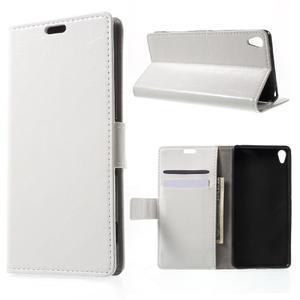Horse PU kožené puzdro pre mobil Sony Xperia XA - biele - 1