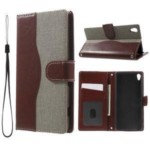 Jeansy PU kožené/textilné puzdro pre Sony Xperia XA - sivé - 1
