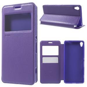 Royal PU kožené puzdro s okienkom na Sony Xperia XA - fialové - 1