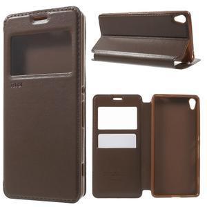 Royal PU kožené puzdro s okienkom na Sony Xperia XA - hnedé - 1
