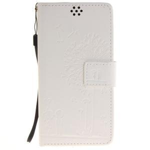 Dandely PU kožené puzdro pre mobil Sony Xperia XA - biele - 1