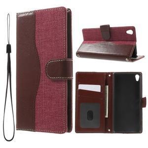 Jeansy PU kožené/textilné puzdro pre Sony Xperia XA - rose - 1