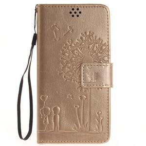 Dandely PU kožené pouzdro na mobil Sony Xperia XA - zlaté - 1