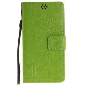 Dandely PU kožené pouzdro na mobil Sony Xperia XA - zelené - 1