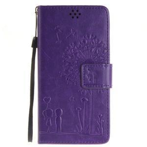 Dandely PU kožené puzdro pre mobil Sony Xperia XA - fialové - 1