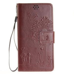 Dandely PU kožené puzdro pre mobil Sony Xperia XA - hnedé - 1