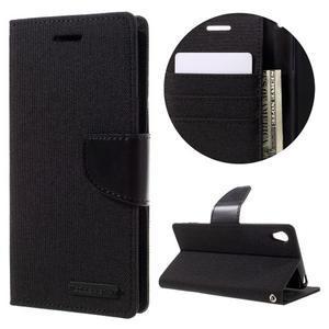Canvas PU kožené/textilné puzdro pre mobil Sony Xperia XA - čierne - 1