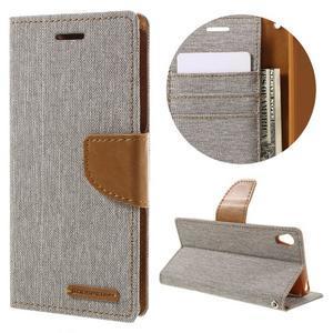 Canvas PU kožené/textilné puzdro pre mobil Sony Xperia XA - sivé - 1
