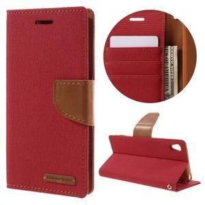 Canvas PU kožené/textilné puzdro pre mobil Sony Xperia XA - červené - 1