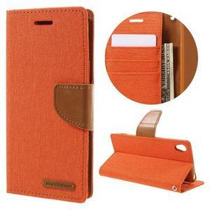 Canvas PU kožené/textilné puzdro pre mobil Sony Xperia XA - oranžové - 1