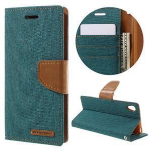 Canvas PU kožené/textilní pouzdro na mobil Sony Xperia XA - zelenomodré - 1