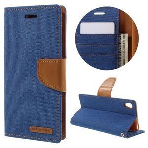 Canvas PU kožené/textilné puzdro pre mobil Sony Xperia XA - modré - 1