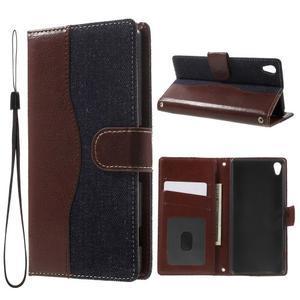 Jeansy PU kožené/textilné puzdro pre Sony Xperia XA - tmavomodré - 1