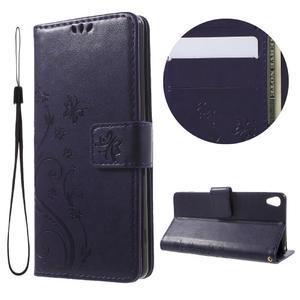 Butterfly pouzdro na mobil Sony Xperia XA - tmavěfialové - 1