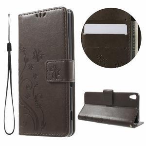 Butterfly puzdro pre mobil Sony Xperia XA - coffee - 1