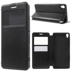 Royal PU kožené puzdro s okienkom na Sony Xperia XA - čierne - 1