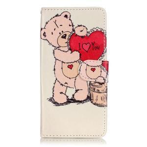 Emotive PU kožené knížkové puzdro pre Sony Xperia XA - medvedík - 1