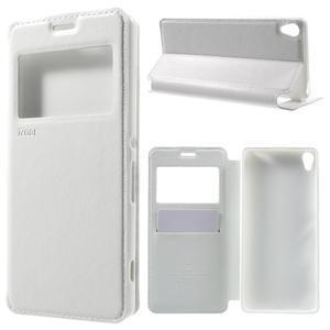 Royal PU kožené pouzdro s okýnkem na Sony Xperia XA - bílé - 1