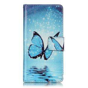 Emotive PU kožené knížkové pouzdro na Sony Xperia XA - modrý motýl - 1