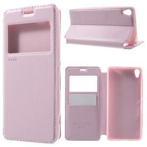 Royal PU kožené puzdro s okienkom na Sony Xperia XA - ružové - 1