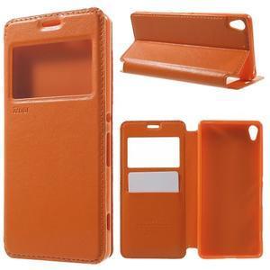 Royal PU kožené puzdro s okienkom na Sony Xperia XA - oranžové - 1