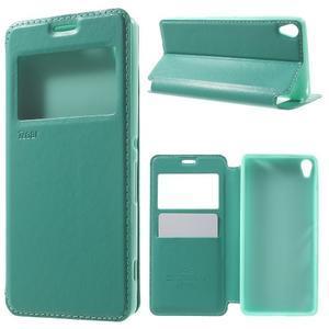 Royal PU kožené puzdro s okienkom na Sony Xperia XA - azurové - 1