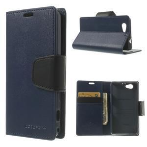 Sonata PU kožené puzdro pre mobil Sony Xperia Z1 Compact - tmavomodré - 1