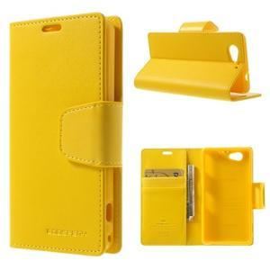 Sonata PU kožené puzdro pre mobil Sony Xperia Z1 Compact - žlté - 1