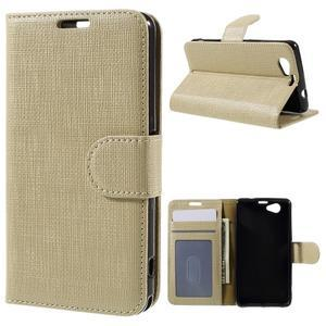 Clothy PU kožené puzdro pre Sony Xperia Z1 Compact - champagne - 1