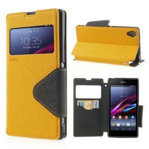 Okýnkové pouzdro na mobil Sony Xperia Z1 - žluté - 1