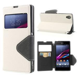 Okýnkové puzdro pre mobil Sony Xperia Z1 - biele - 1
