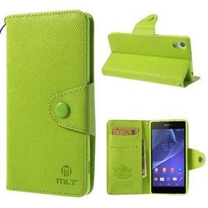 Stylové peněženkové pouzdro na Sony Xperia Z2 - zelené - 1
