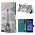 Stylové peněženkové pouzdro na Sony Xperia Z2 - Eiffelova věž - 1/7