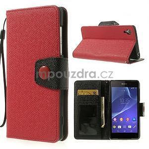 Štýlové Peňaženkové puzdro pre Sony Xperia Z2 - červené/čierne - 1