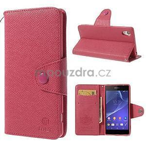 Štýlové Peňaženkové puzdro pre Sony Xperia Z2 - rose - 1