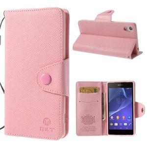 Štýlové Peňaženkové puzdro pre Sony Xperia Z2 - ružové - 1