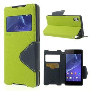 Okýnkové puzdro pre mobil Sony Xperia Z2 - zelené - 1