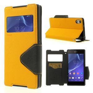 Okýnkové puzdro pre mobil Sony Xperia Z2 - žlté - 1