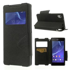 Okýnkové puzdro pre mobil Sony Xperia Z2 - čierne - 1